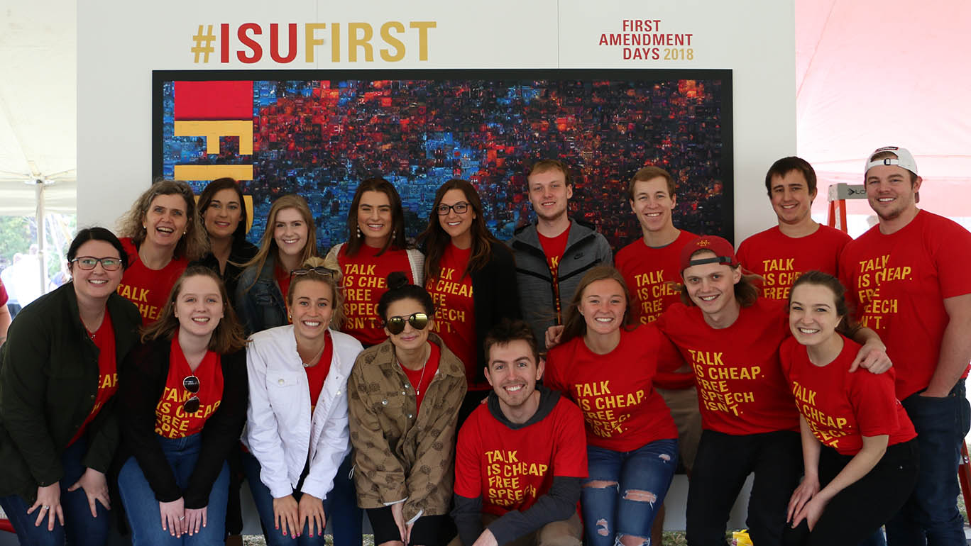 students in front of a mosaic at First Amendment Days