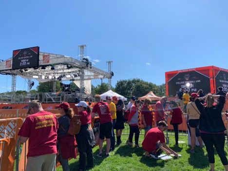 People lining up to attend College GameDay Live