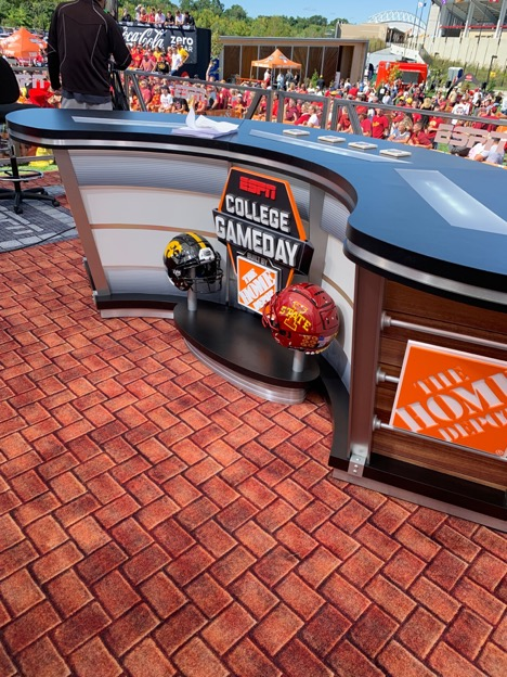 The College GameDay desk on the production set