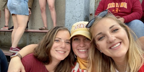 Emma Vandemore with friends at Saturday's CyHawk game