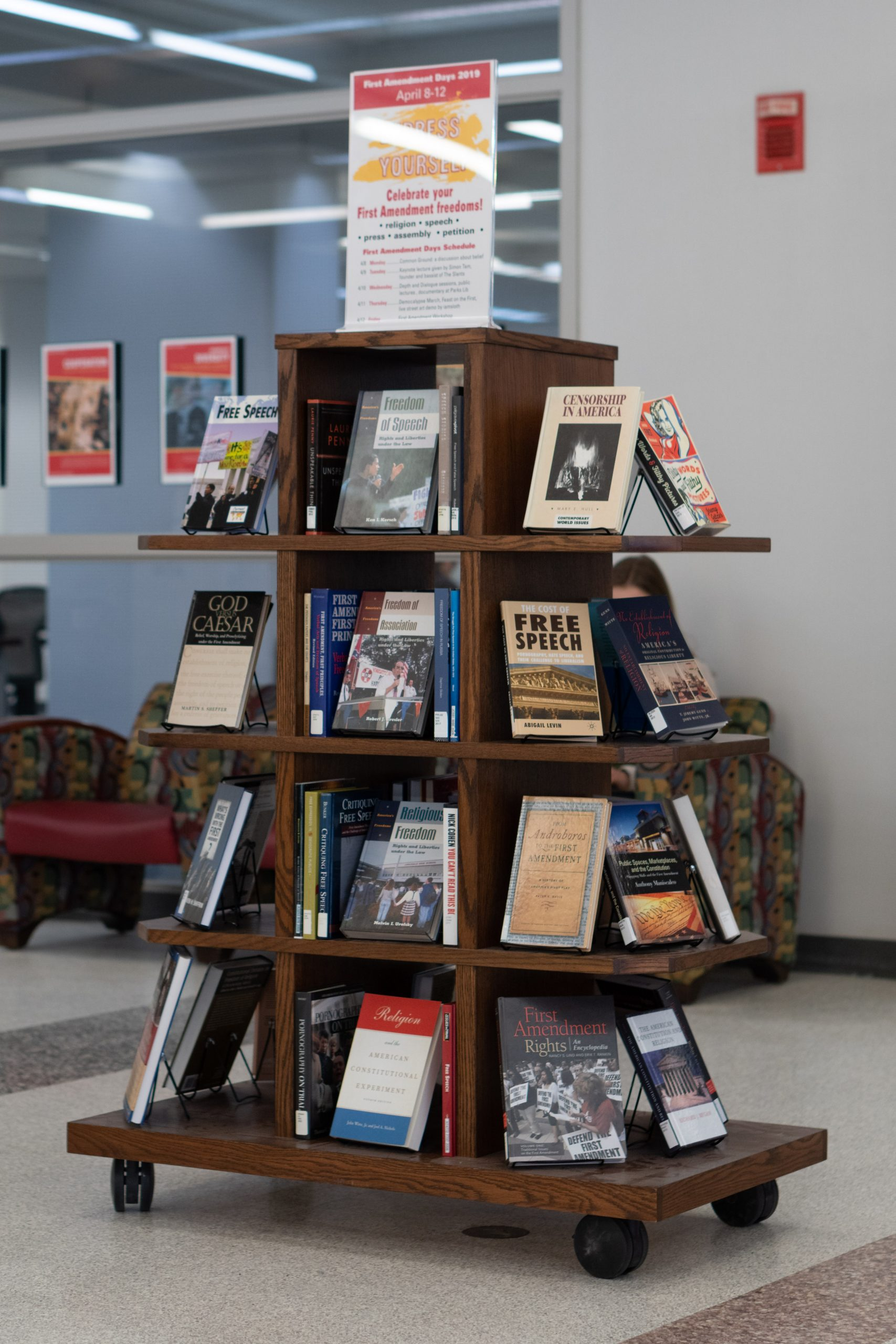 a display containing books about the First Amendment