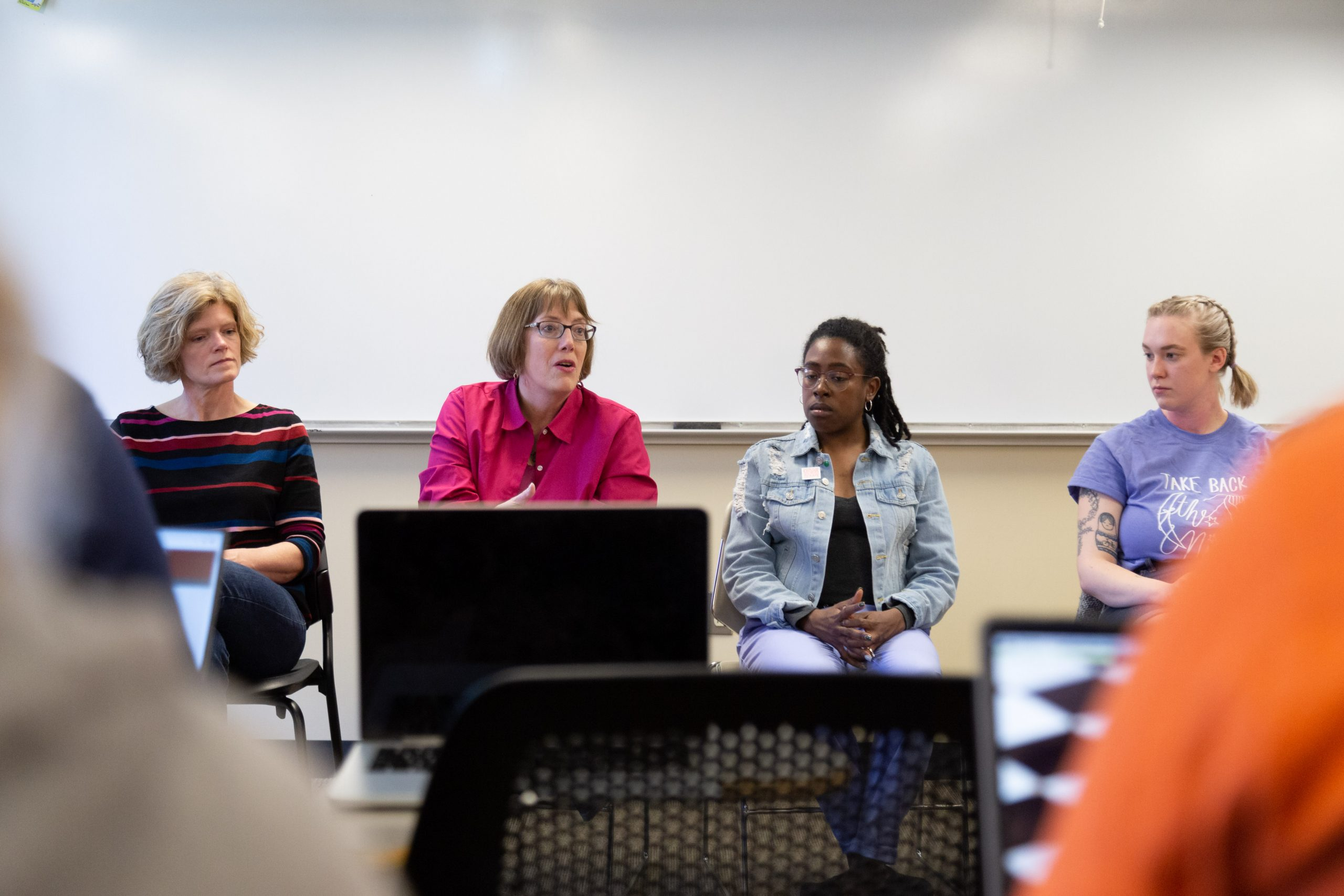 panel featuring a moderator and four women
