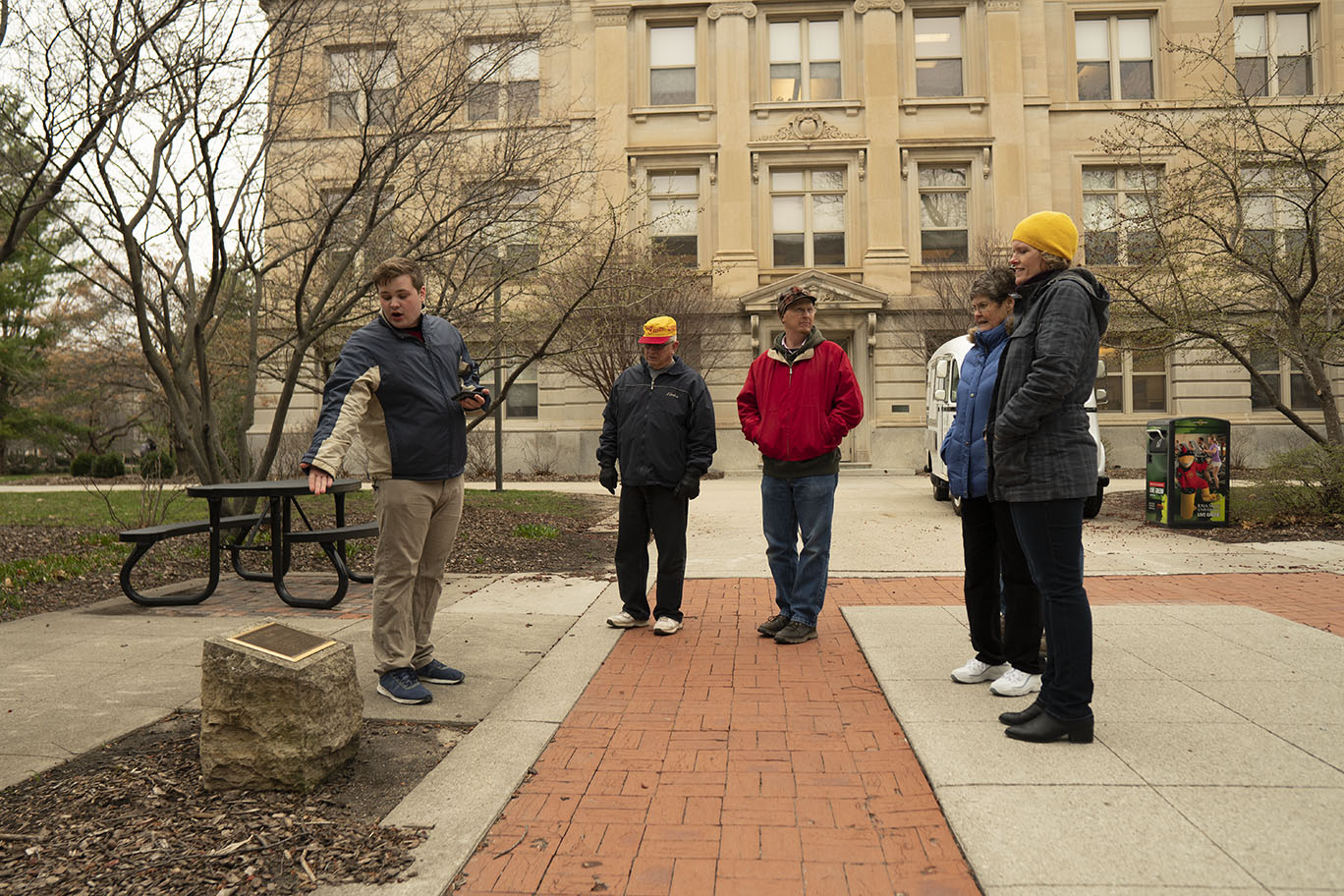 four people are led on a walking tour on the ISU campus