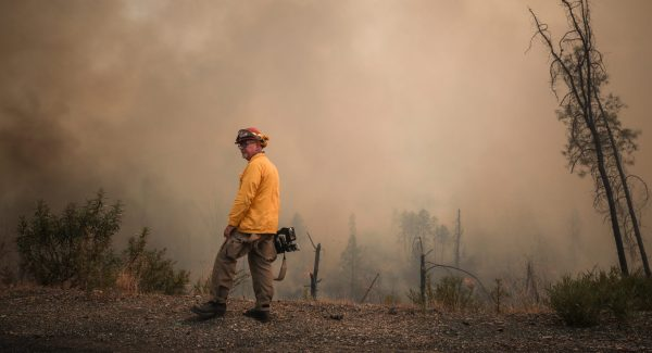 Al Henkel out in the field reporting on a wildfires.